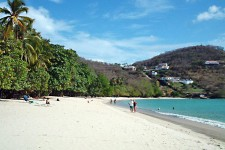 A typical busy day on Grand Anse beach